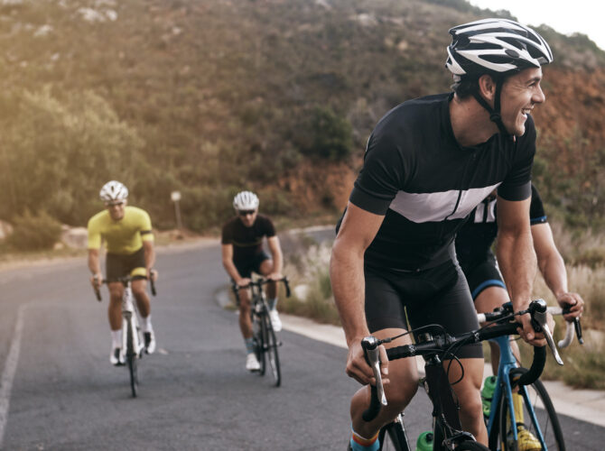 Shot of cyclists on a country road